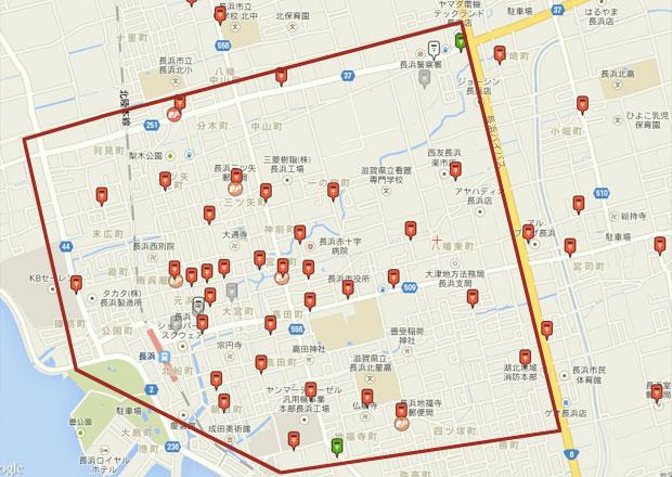 長浜市のポストが配置されている地図