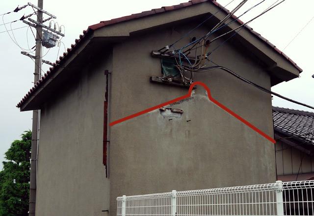 この赤いラインの部分が建物があった跡