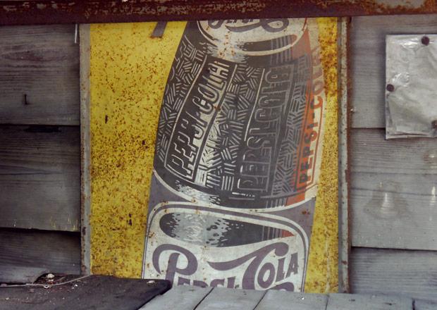 古いPepsiColaのホーロー看板