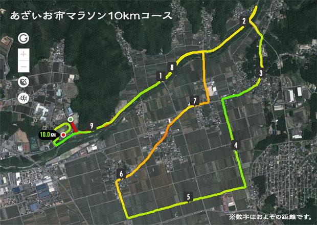 あざいお市マラソン10kmコース図
