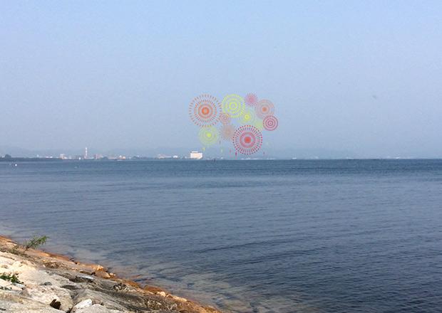 南浜から長浜の花火を見るイメージ
