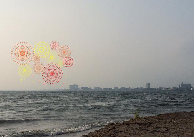 さいかち浜から長浜の花火を見るイメージ