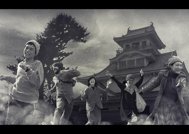 長浜城に現れたゴジラから逃げる人