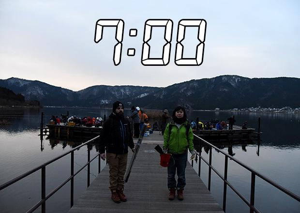 午前7時余呉湖へ到着