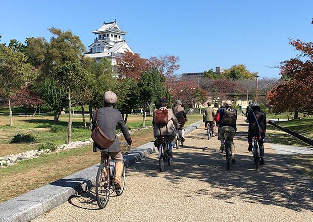 長浜城のある豊公園をサイクリング