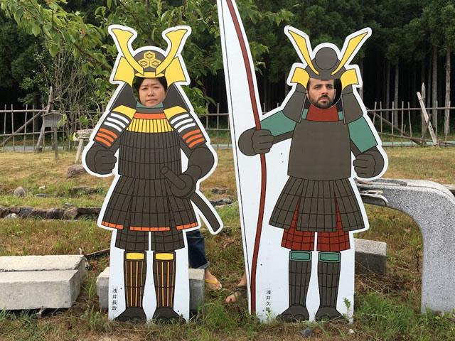 小谷城戦国歴史資料館の顔ハメ看板