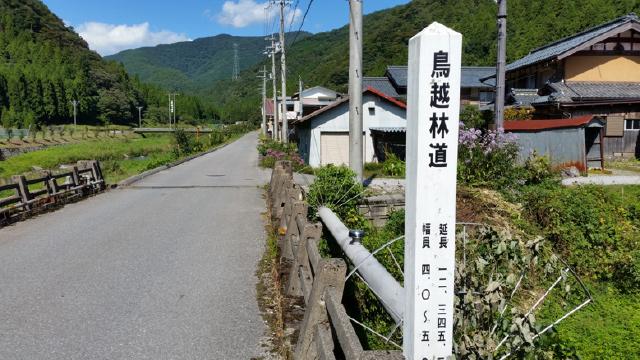 長浜市鍛冶屋町にある鳥越林道の標識