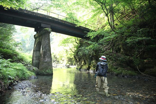 渓流釣りの基本、投げる場所を教わる
