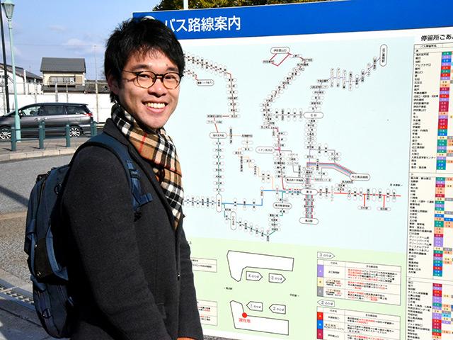 長浜駅のバス停より八幡泉町を探しに行く
