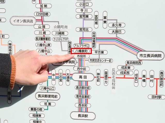 八幡泉町のバス停を目指して