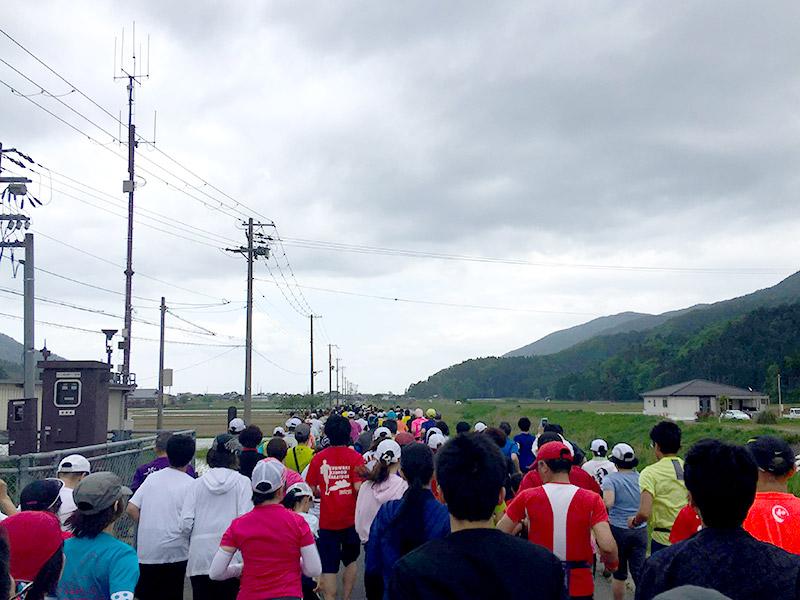 琵琶湖に向かって田んぼ道を走る